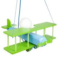 Hängeleuchte Flugzeug - groß, blau/grün