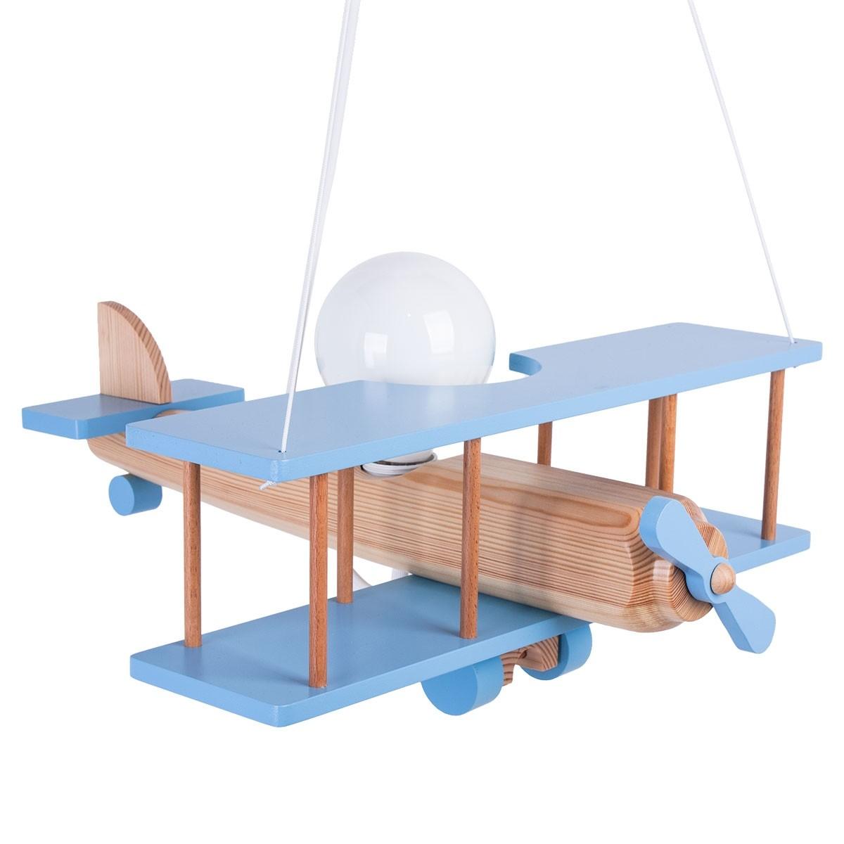 Hängeleuchte Flugzeug - groß, natur/himmelblau
