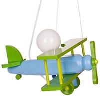 Kleine Pendelleuchte Flugzeug – blau/grün