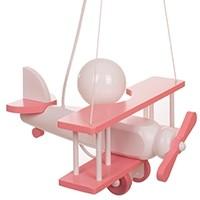 Kleine Pendelleuchte Flugzeug – weiß/rosa