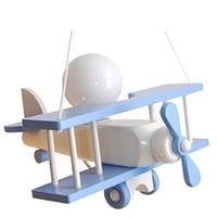 Kleine Pendelleuchte Flugzeug – weiß/himmelblau
