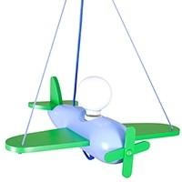 Pendelleuchte Flugzeug - blau/grün