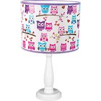 Tischlampe für Kinder  - TINA2 (rosa Eulen)